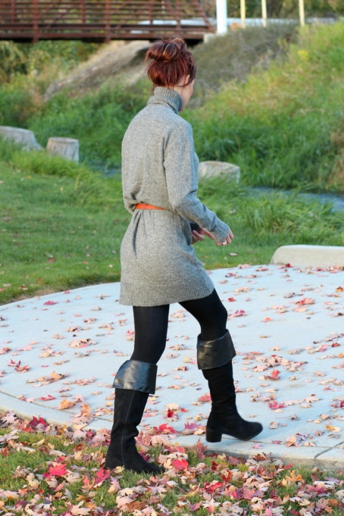 Oversized Sweater Dress with Knee High Boots. : Look fashionable and be comfortable this fall and winter!