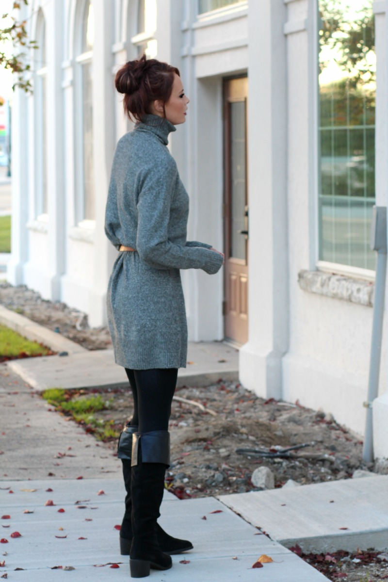 4a39b595f8 ... Oversized Sweater Dress with Knee High Boots.   Look fashionable and be  comfortable this fall ...